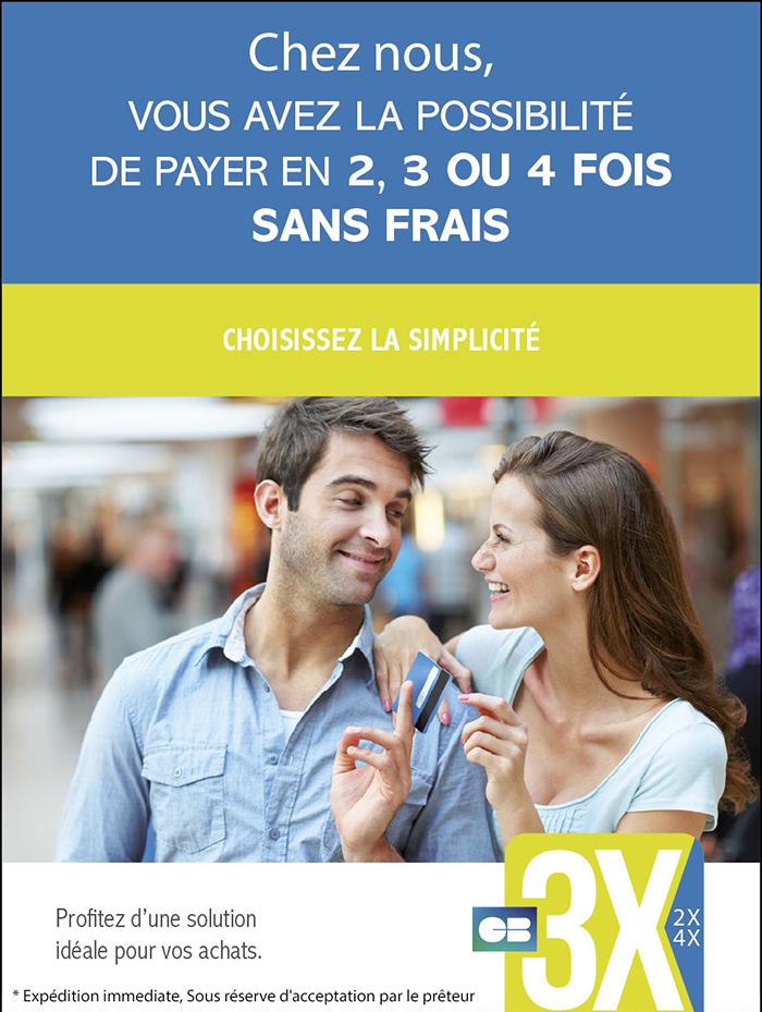 Paiements en 2, 3 ou 4 fois sans frais
